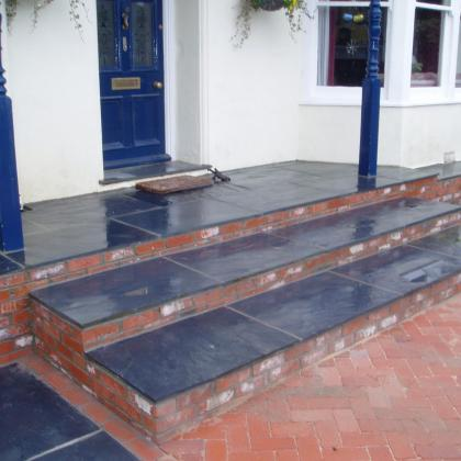 front porch with slate steps