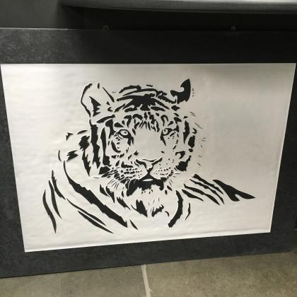 Engraved sign of a tiger