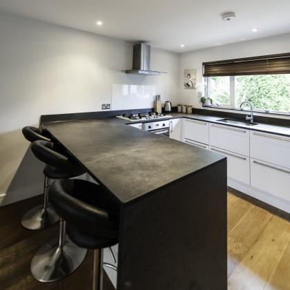 Breakfast bar and oven combined work top