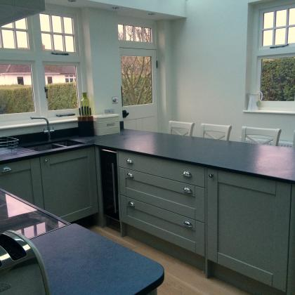 Complete work top covering the whole of a u shaped kitchen