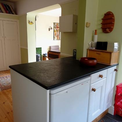 Cottage kitchen breakfast top in slate