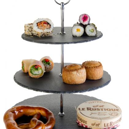 Three Tiered Cake Stand with slate bases