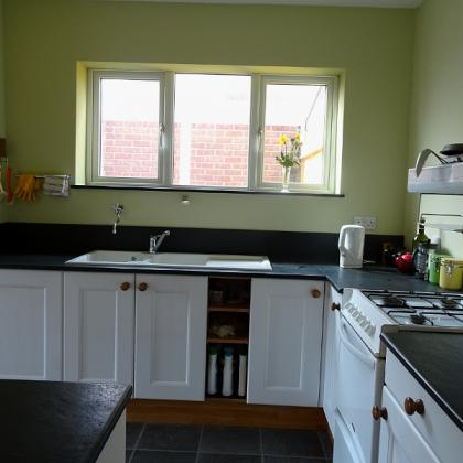 Retro kitchen with slate sink worktops