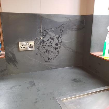 Engraved and personalised kitchen worktop with a wolf