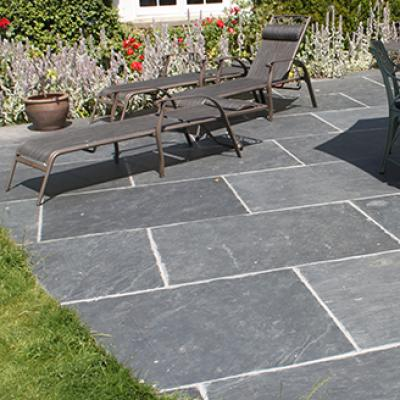 Chinese Slate Patio in cottage garden