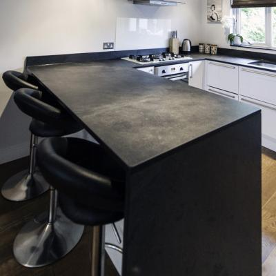 Black Slate Work Surface, Breakfast Bar & End Panel