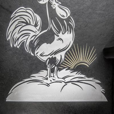 Cockerel slate engraved house sign or farm sign