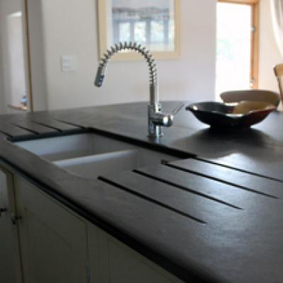 slate kitchen sink worktop with Belfast sink