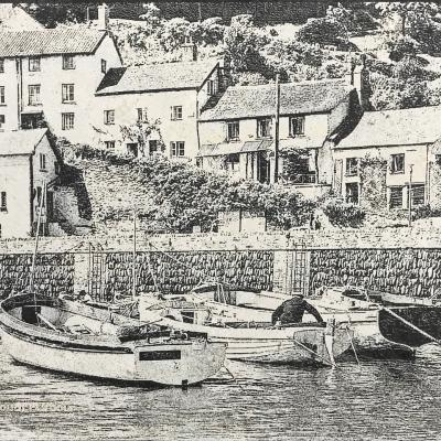 Etching onto slate of Lynmouth harbour