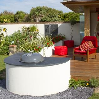 Barbecue in semi circle, outdoor with slate bbq worktop