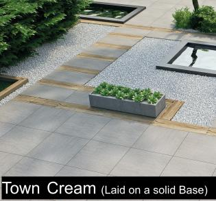 porcelain paving in beach cream