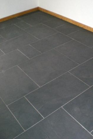 Slate Floor Tiles In Black Slate With Mixed Pattern