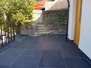 Graphite black riven slate flagstones