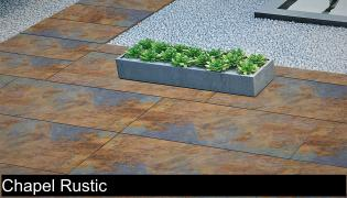 Outdoor porcelain pavers in chapel rustic