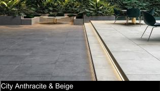 city anthractie and beige porcelain paving slabs for sale
