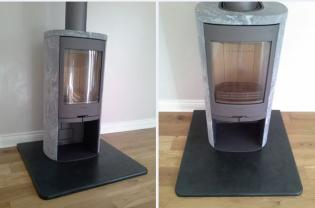Modern woodburner fire hearth in black slate