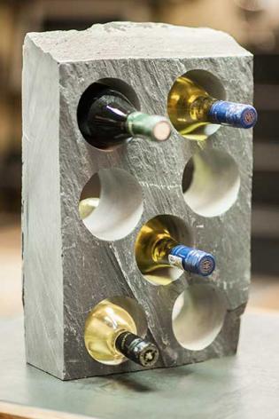 Custom Wine Racks In Solid Slate Blocks And Wine Bottle