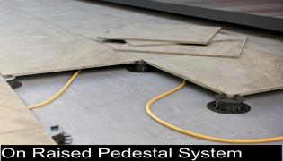 porcelain paving laid on a riased pedestal system