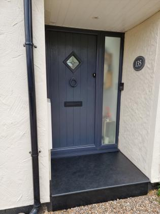 slate front door step with smooth over hang