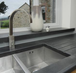 Closeup of slate Belfast sink surround
