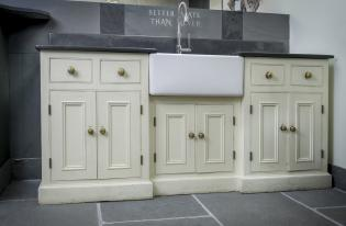 Bespoke Handmade In The UK Slate Kitchen Sink Surround With Belfast Sink  And Wooden Units