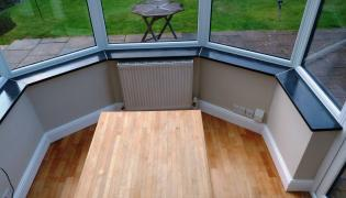 Slate window cills in a bay window