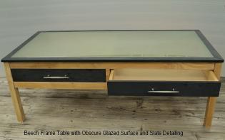 Beech & Obscure Glazed Table
