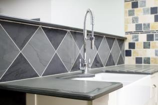 Belfast slate sink surround with draining grooves from Ardosia