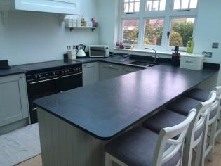 Kitchen Worktop With A Black Solid Slate Work Surface