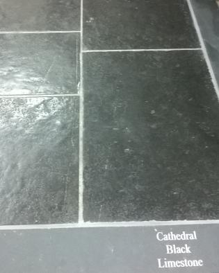 Cathedral Black Polished Limestone Slab