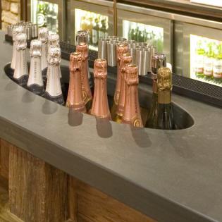 Bottle Chiller in slate bar