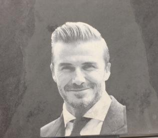 David Beckham image engraved in slate