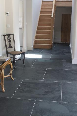 Slate floor tiles in graphite black