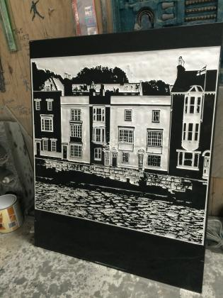 custom engraved slate picture of house