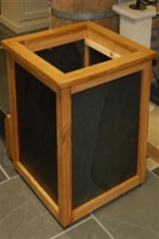 Oak & Black Slate Planter Floor Standing