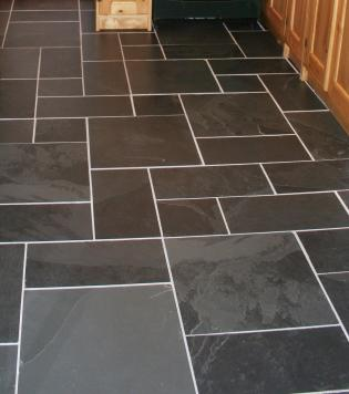 light and dark grey slate floor tiles