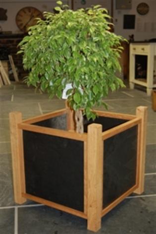Oak & Polished Slate Planter on Legs