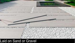 porcelain paving laid on sand or gravel