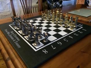 Custom made chess board engraved in slate