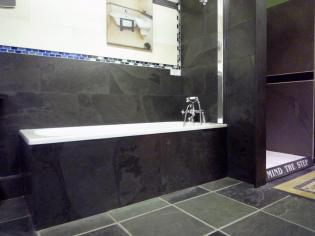 Slate bath panels and square flooring