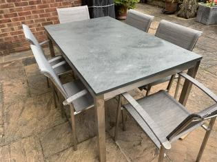 Outdoor table with a slate table top