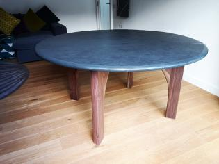 slate top table with oak legs