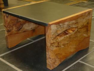 slate and wood table