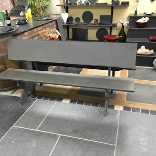 Traditional bench with seat and back in slate