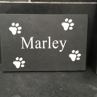 Dog name engraved onto slate