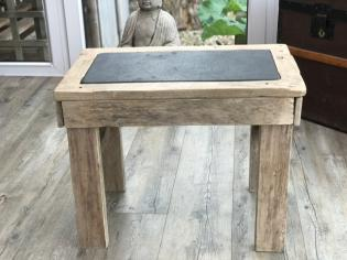 Old reclaimed oak, lime washed with a slate table top