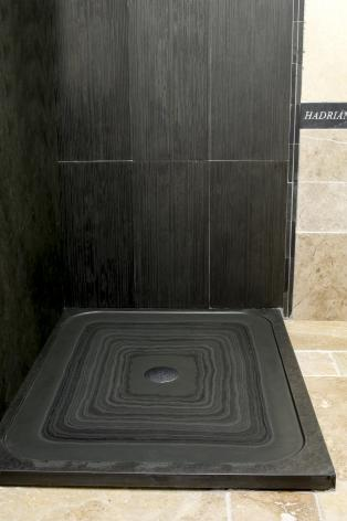 slate shower tray with shower cladding tiles in slate