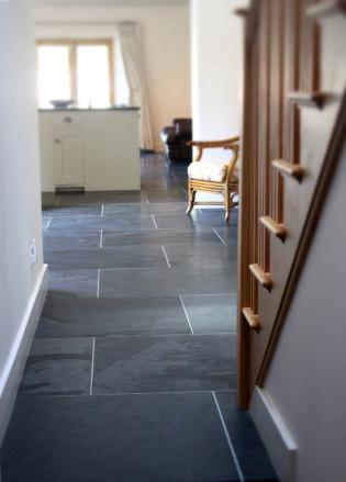slate slabs in a hallway