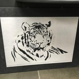 Tiger engraved onto slate