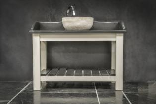 Stand alone slate sink surround with round stone bowl on wooden frame from Ardosia